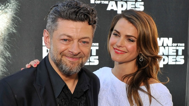 "SAN FRANCISCO, CA - JUNE 26: (L-R) Andy Serkis and Keri Russell attend the premiere of ""Dawn of the Planet of the Apes"" at Palace Of Fine Arts Theater on June 26, 2014 in San Francisco, California. (Photo by Steve Jennings/WireImage)"