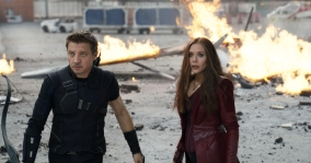 Marvel's Captain America: Civil War..L to R: Hawkeye/Clint Barton (Jeremy Renner) and Wanda Maximoff/Scarlet Witch (Elizabeth Olsen)...Photo Credit: Film Frame..© Marvel 2016