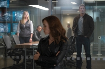 Marvel's Captain America: Civil War..L to R: Sharon Carter/Agent 13 (Emily VanCamp), Sam Wilson/Falcon (Anthony Mackie), Natasha Romanoff/Black Widow (Scarlett Johansson), and Steve Rogers/Captain America (Chris Evans)..Photo Credit: Zade Rosenthal..? Marvel 2016